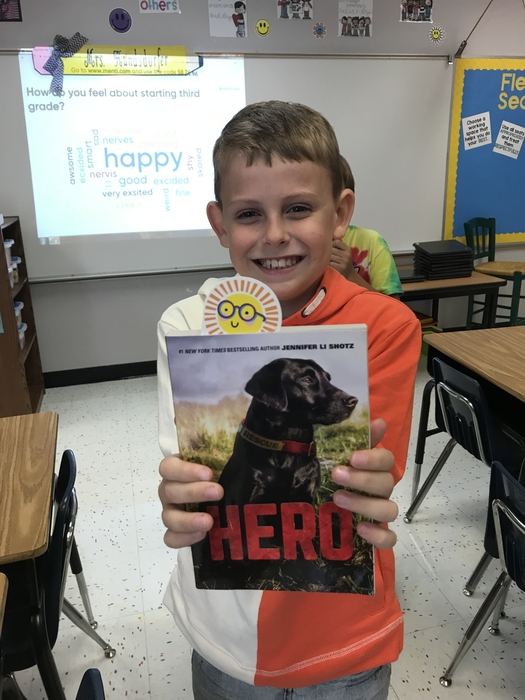 Before the start of school, I lined up friends to sponsor my students by buying them a book for the first day of school. He is really excited because his sponsor promised him the second book in the series when he finishes this one!!