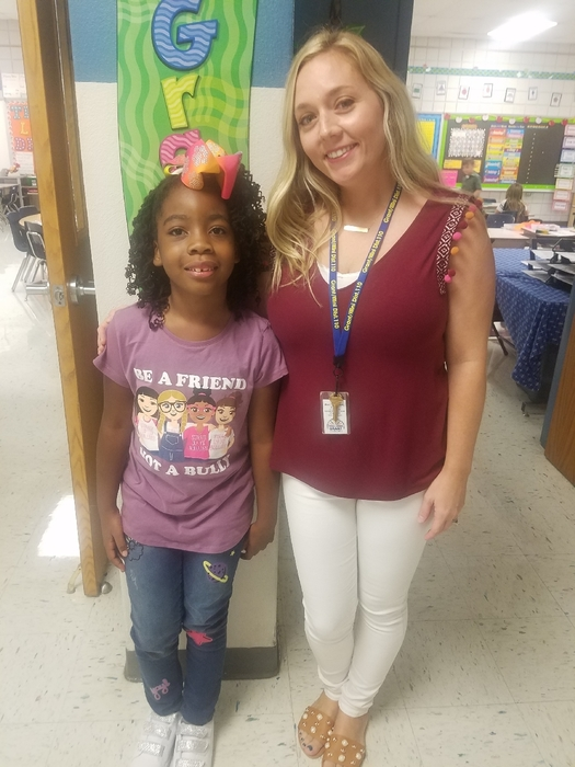 "Her shirt says it all!  ""Be a Friend, Not a Bully"""