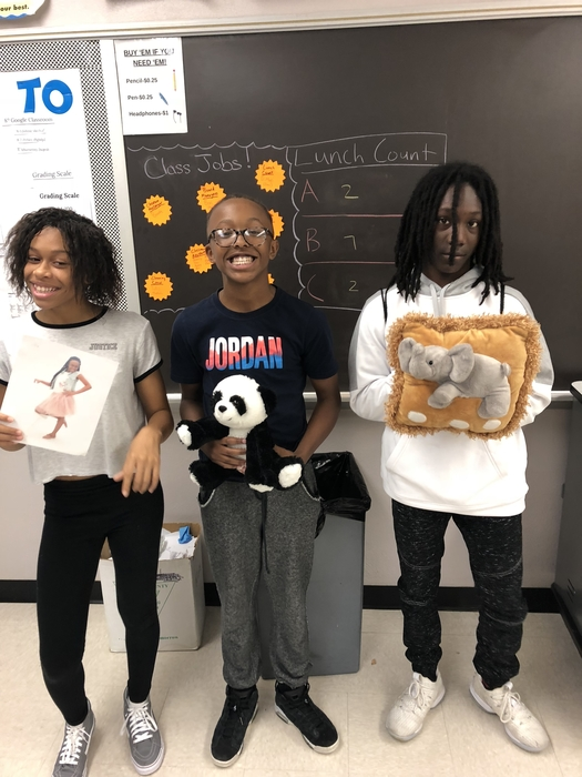 7th graders sharing their Me Bags in Character Education. Me Bags help classmates learn new things about one another and share life experiences!