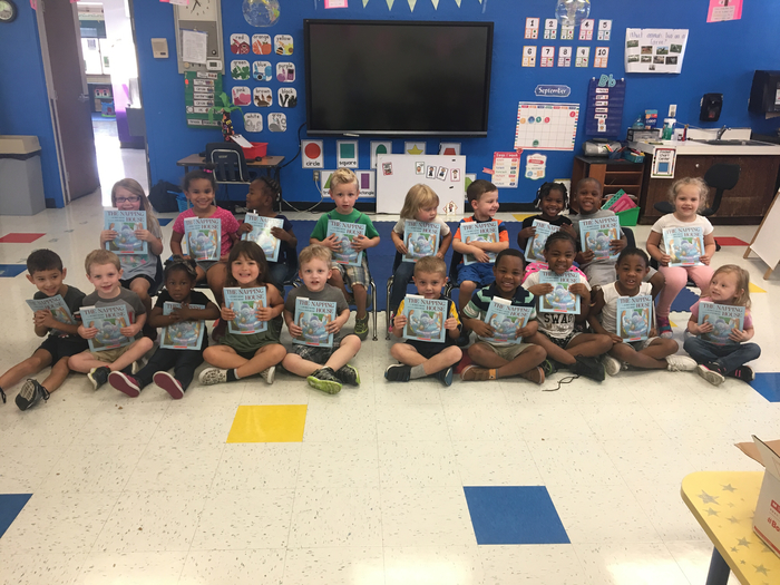 Pre-K/EC got their first donation of scholastic books from the Women4given program! (PM class)