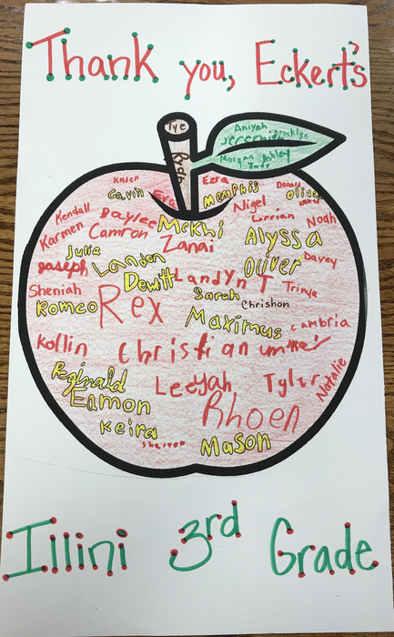 Thank you, Eckert's! The apples were yummy! (Credit goes to Ms. Mancuso for the card idea!)