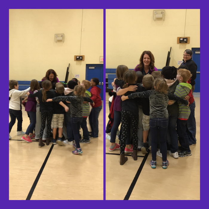 Surprising the PE teacher with a song, cards, and a group hug! HaPpY BiRtHdAy, Mrs. Calabrese!