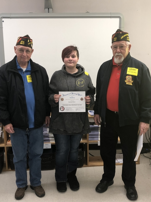 Charlotte with VFW members Glenn Edwards and Lee Wallace
