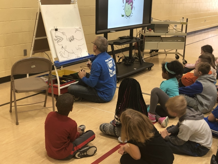 The kids had a great time watching author and illustrator, Dan Killeen, create an illustration for our school.