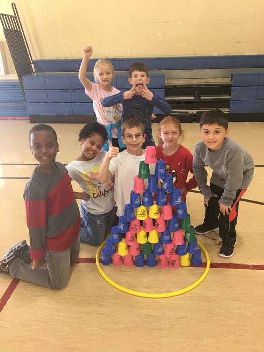 2nd graders proud of their relay stack!