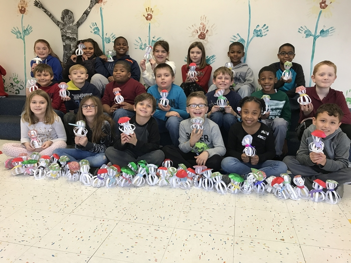 Thanks to my class and a special fourth grader for making these snowmen! The residents at Mark Twain Manor will love them!