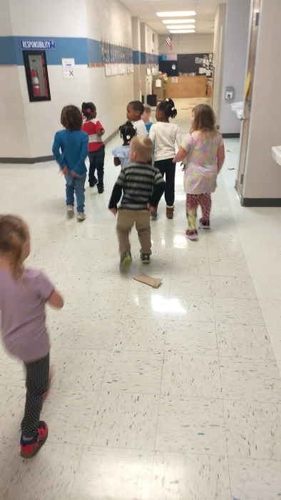 EC and Pre-K went on a hunt for the gingerbread kid. He got loose in the school!