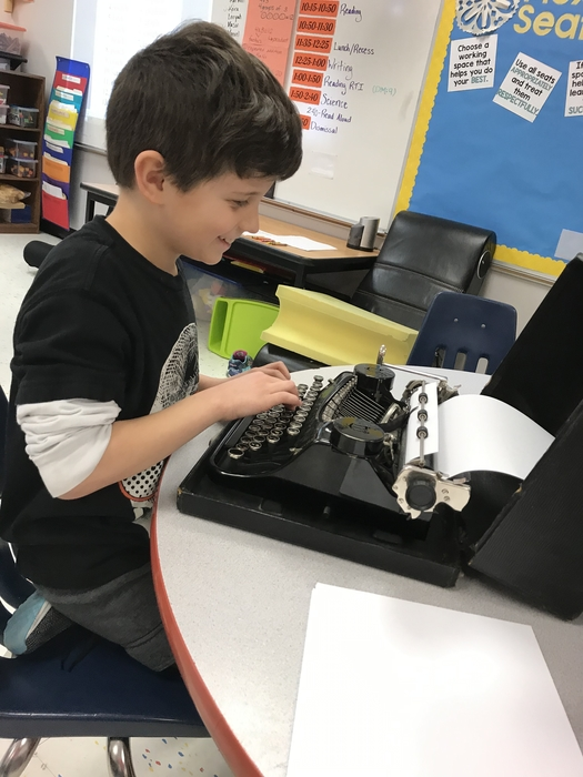 Some third graders had the opportunity to use a typewriter! Having to push the keys so hard made them appreciate our modern conveniences!
