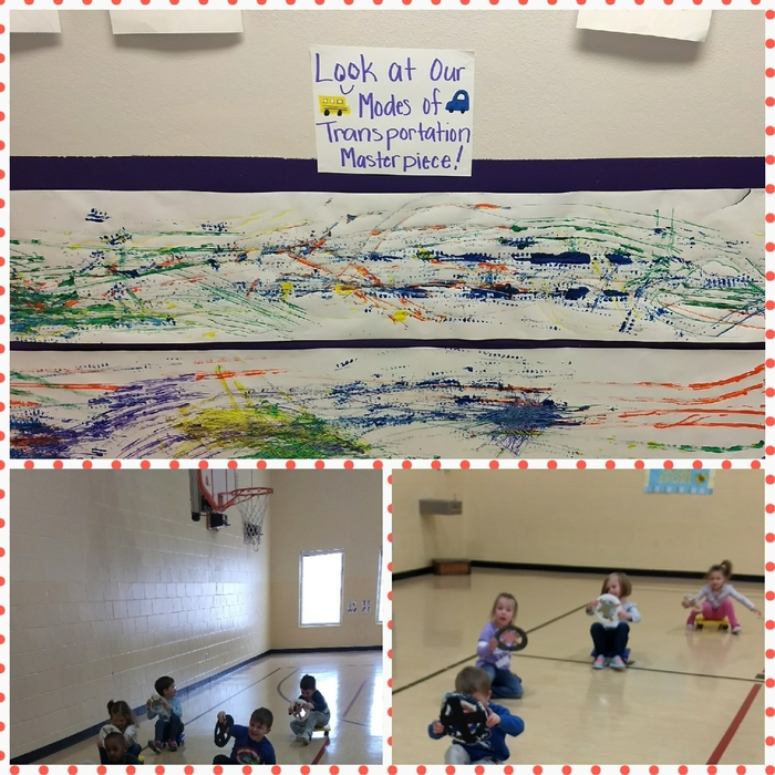 We completed our transportation unit by painting with different types of vehicles.  We also practiced our driving skills in PE today. The kids had a blast learning about the different modes of transportation this week.