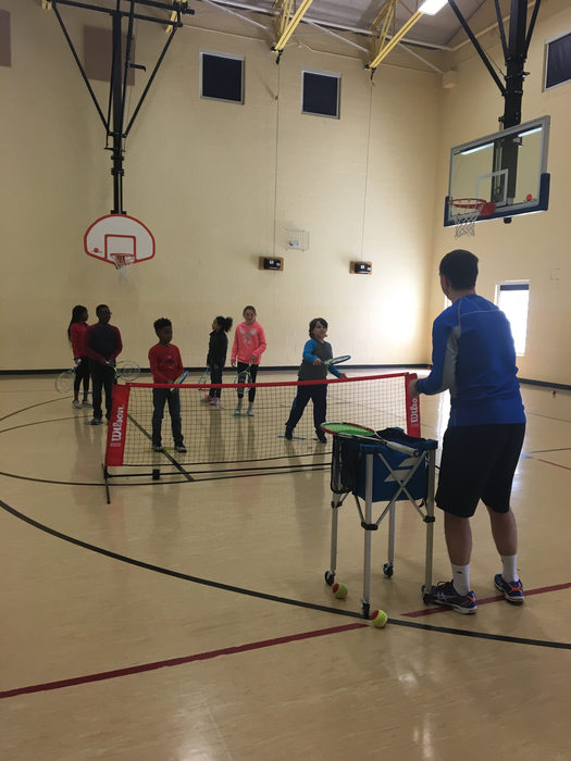 4th grade learning tennis!