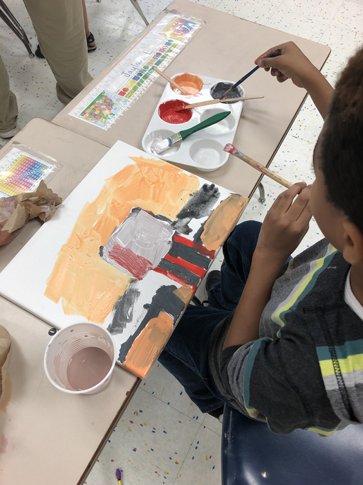 Mr Heins' class was inspired by Bob Ross so they made their own landscape paintings.