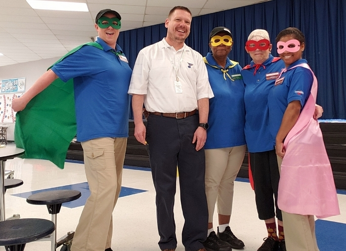 Super hero cafeteria workers
