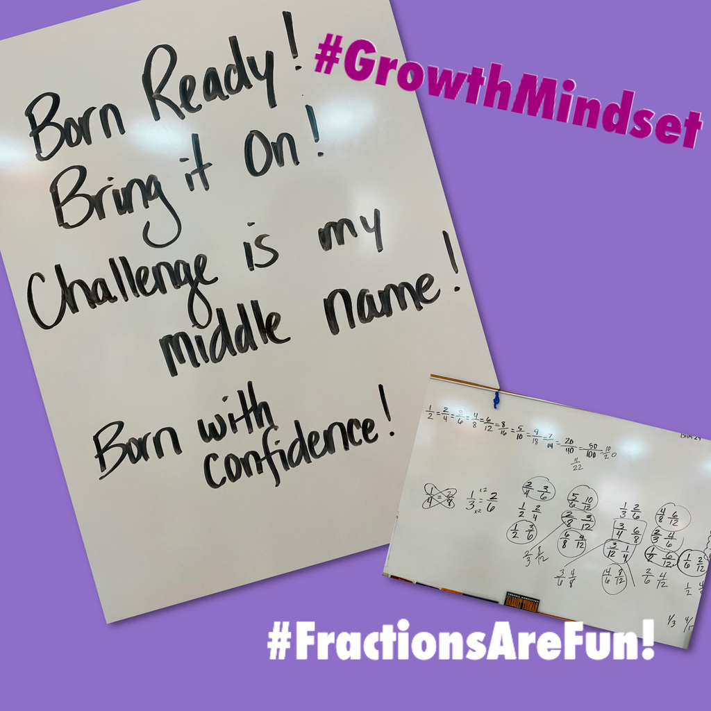 Do you love fractions? Mrs. Hundsdorfer's class had fun using number lines to find equivalent fractions. When it was time for the challenge of doing some without number lines, some of them came up with great motivational responses! #GrowthMindset
